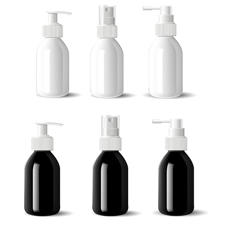 Medical bottles with dispenser spray caps. Aerosol containers in glossy black and white glass, pump dispenser for liquid moisturizer cosmetics. 3s realictic mockup product set.