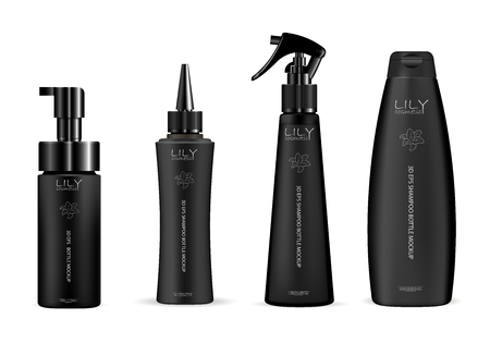 Set of black cosmetic bottles for hair care products: shampoo, gel, soap and other liquids. Dispenser pump, dropper, pistol spray containers. 3d vector mockup packaging design.