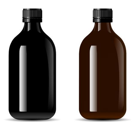Confezione di flaconi per prodotti medicali, vape e liquid, oil, siero ed essence. Mockup di flaconi per la cosmetica in vetro nero e vetro ambrato. Illustrazione vettoriale eps10 di alta qualità.
