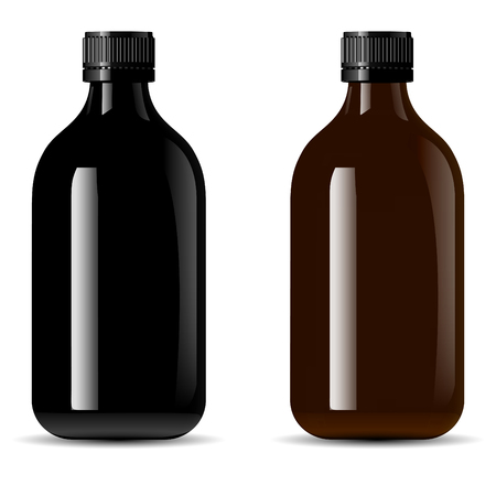 Paquete de botellas para productos médicos, vape e líquido, aceite, suero y esencia. Maqueta de botellas cosméticas de vidrio negro y ámbar. Ilustración de vector de eps10 de alta calidad.