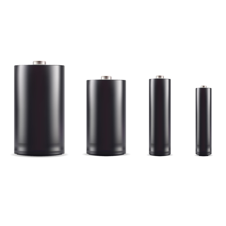 Black alkaline battery mockup set. 3d realistic vector illustration. Different size accumulators isolated on white. Disposable litium ion power supply. Technology components for different type electronic products.