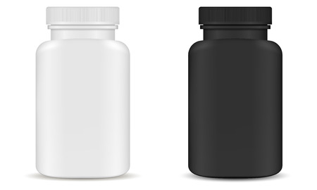 Plastic Pill Bottle Kit. Supplement Container. 3d Pharmaceutical Box for Capsule. Medical Jar Pack in Black and White Design. Prescription Tablet Product Package. Remedy Mockup.  イラスト・ベクター素材