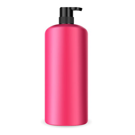 Dispenser Pump Cosmetic Bottle. Batcher Container 3d Mockup. Red Plastic Packaging for Shampoo, Lotion, Hand Cream, Medical Liquid. Sunscreen Treatment Tube with Black Cap.