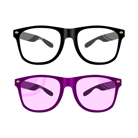 Vector Glasses Flat Illustration. Black Rim Eyewear. Summer Fashion Sunglasses in Modern Hypster Style. Optical Eyeglass Casual Frame with Cool Lens. Medical Reading Glass in Front. Vector Illustration