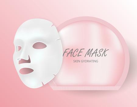 Paquet de draps de masque facial. Blanchiment de la peau ou blanc de coton d'humidité dans un sachet jetable. Sérum anti-âge réduisant les problèmes de coenzyme et d'acné. Closup Maquette Isolée 3D.