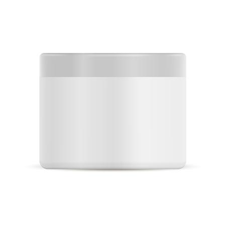 Weißes Plastikcremeglas. Kosmetikbehälter für das Gesicht. Vektorflasche für Körpercreme oder Lotion. 3D-Rundverpackung mit Abdeckung für Pulver, Peeling, Butter. Medizinische Salbe Produktpaket. Hautpflege.