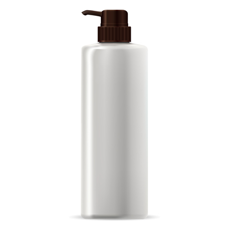 Pump Dispenser Bottle for Hair Conditioner Cosmetic. Pet Plastic Container Blank Mock Up for Foam, Gel, Vitamin Shampoo, Moisturizer. Skin Treatment and Care. 3d Plastic Tube Design.