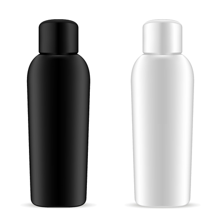 Shampoo Bottles Set. Black and White Cosmetic Pack. Realistic Mockup Packaging Collection for Hand Moisturizer, Liquid Soap or Gel. 3d Blank Illustration.