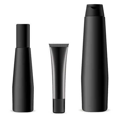 Black Cosmetic Bottle and Tube Set. Bath Flask Mockup. Hair Balm or Conditioner Men Collection. Shower Soap and Oil Essence Flacon. Cosmetology Gygiene Package. Vectores