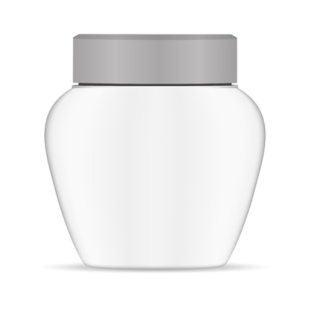 Cream Jar White Plastic. Round Container Mockup for Powder, Skin or Face Care Creme. Realistic 3d Package for Sunscreen Medical Ointment, Balm or Mousturizer. Isolated Canister Template.