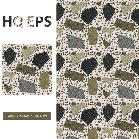 Terrazzo Seamless Pattern. Camouflage Green Flat Vector texture. Granite Tile Rock Abstract Textile Print. Home Kitchen Flooring Mosaic. Colorful Italian Wallpaper Limestone Sample. Pebble Repeat Fill
