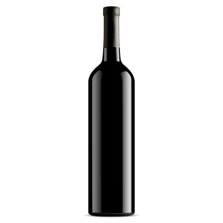 Wine Bottle Black Glass. Vector Mockup. Unlabeled Design Vertical Shape. French Brand Merlo Alcohol. Winery Beverage Realistic 3d Jar. Drunk Liquid. Riesling, Bordeaux, Vintage Burgundy.