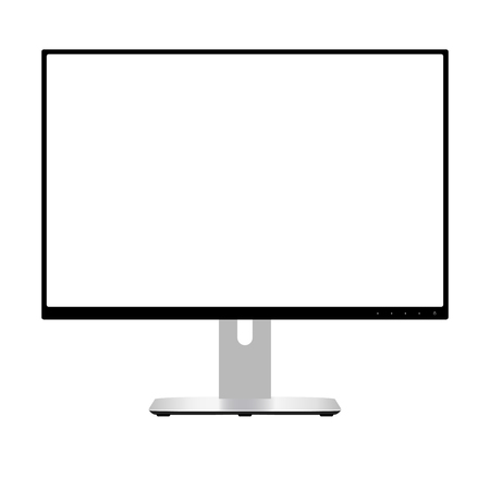 Computer Monitor. Wide Screen Lcd Display. Modern Flatscreen Technology Device Vector Illustration. Electronic Equipment Front View with White Space Isolated on Background. Retina Glass. Illustration