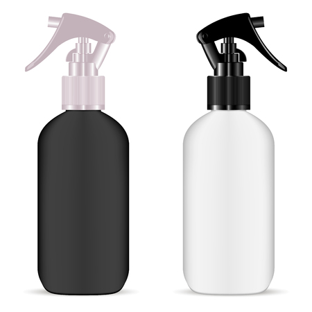 Plastic Spray Bottle Set. Plastic Pistol Trigger Moisturizer Mockup. Cosmetic Plastic Packaging with Dropper for Hair Oil, Essence, Treatnment. Jar for Aromatic Moisture.