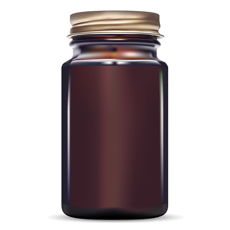 Botella marrón. Tarro médico de vidrio ámbar para pescado y bacalao. Frasco de medicina para píldora con tapón de rosca dorado. Envase farmacéutico de drogas. Envases de medicamentos para tabletas de antibióticos. Maqueta de almacenamiento 3d.