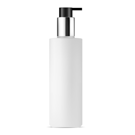Cosmetic Pump Bottle. White Frosting Glass Mockup Template. Clear Blank for Lotion, Cream. Isolated Container for Woman Face Care Liquid Product. Sunscreen Oil Tube. Silver Metal and Black Cap. Illustration