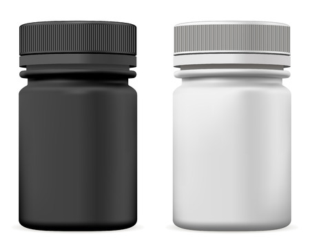 Pill Bottle. Plastic Supplement Package Vector Mockup with Cap. Medical Vitamin or Medicament Tablet Jar. Realistic Drug Container for Pharmacy Product. Black and White Template Set. Иллюстрация