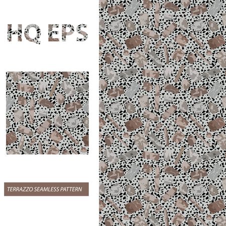 Seamless Terrazzo Pattern. Marble Stone Texture. Continuity Architecture Granite Decoration. Modern Flooring Surface Decor. Abstract Shape Repeat Print. Regular Polished Grunge Mars Blot. Illustration