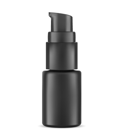 Eye Serum Cosmetic Bottle. Highlight Pump Dispenser Vial for Face Care Treatment. Black Container Mockup for Essential Liquid, Concealer, or Tonal Base. Realistic Packaging Sample. Çizim