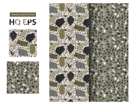 Terazzo Pattern. Seamless Granite Floor Background. Abstract Grainy Concrete. Facion Fake Rock Repeat Geometric Illustration. Flooring Surface Mosaic. Trendy Camo Color Modern Textile. Venetian Rock. Ilustração Vetorial