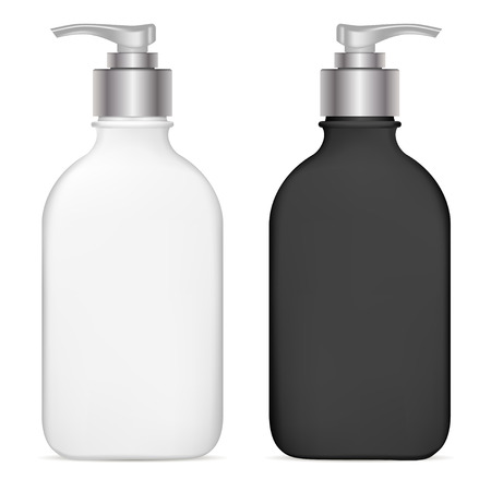 Pump Dispenser. Plastic Cosmetic Bottle. Isolated Black and White Mockup for Shampoo, Gel, Spray, Body Lotion, Shampoo. 3d Realistic Container Template. Clear Medical Packaging Mockup Set.