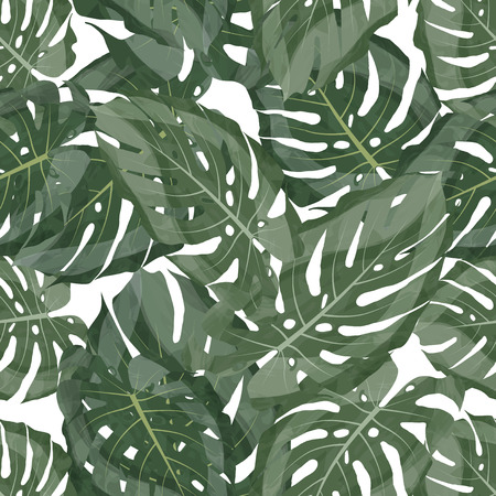 Green Leaf Pattern. Seamless Floral Background. Tropic Texture Fabric. Summer Fashion Painting Decoration Exotic Monstera Wallpaper Material. Modern Brazil Nature Art. Vibrant Hawaii Botanical Textile
