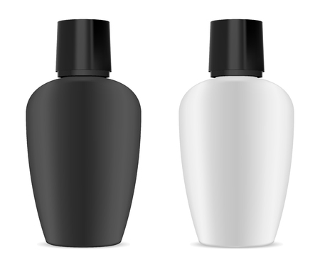 Shampoo Bottle. Cosmetic Package Mockup. Plastic Product Container Blank. 3d Oval Packaging in Milk White and Black. Sun Screen Protection Pack. Shower Gel or Soap Realistic Design.