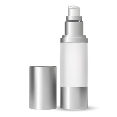 Pump Bottle. Beauty Cosmetic Container. 3d Vector illustration. White Glass Packaging with Dispenser Pump for Moisturizer or Serum Product. Hygiene Liquid Cosmetics Can Mockup.