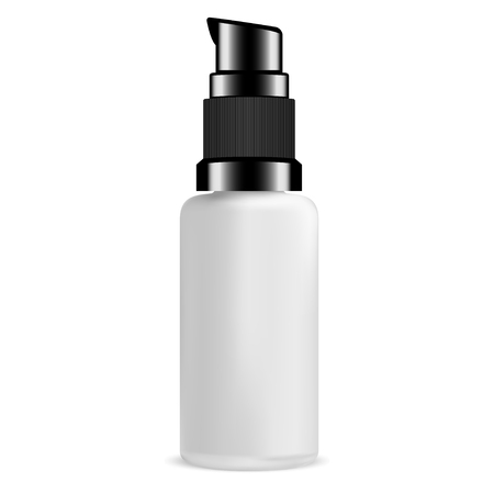 Pump Bottle for Serum Cosmetic. Glass Package with Plastic Lid. 3d Cylinder Packaging Design. Mini Cream Dispenser. Transparent Antiseptic Can Illustration Mockup. Isolated Pack Design.