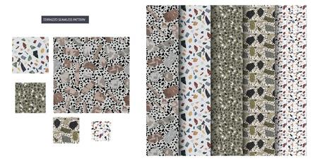 Seamless Terrazzo Pattern Set. Stone Texture. Modern Flooring Surface Decor. Continuity Architecture Granite Decoration. Abstract Shape Repeat Print. Regular Polished Grunge Mars Blot. Stock Vector - 124032292