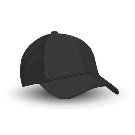 Black Baseball Cap Template. Vector Hat Mockup Isolated on White. Basic Black Blank of Sport Wear Hat. Side View. Tennis Sports Merchandise. Realistic Illustration Design. Modern Fashion Clothes. Ilustración de vector