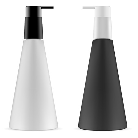 Pump Bottle Set. Cone Shape Dispenser Bottle Mockup. 3d Vector illustration. Black and White Plastic Container for Liquid Shampoo, Gel, Body Cream. Beauty Toiletries. Empty Spa Packaging. No Label