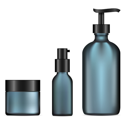 Glass Cosmetic Bottle Set. Pump Dispenser, Cream Jar Template Mockup. Facial Concealer, Moisturizer Product. Skin Tonic Packaging. Matt Blue Glass Set. Realistic vector Package.