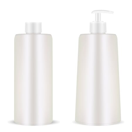 Plastic Cosmetic Bottle. Pump Dispenser. 3d Realistic Container Template. Isolated Black and White Mockup for Shampoo, Gel, Spray, Body Lotion, Shampoo. Illustration