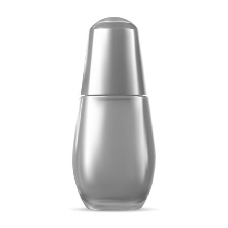Essence Bottle Concept. Perfumery Serum Object Blank. Silver Glass Jar Isolated on White for Cosmetic. Package Design Mockup. Treatment Container Template. Glass Bottle for Promotion. Vector