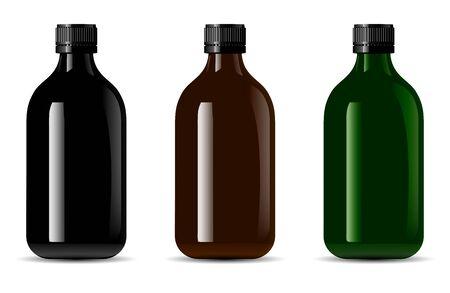 Botella de vidrio negro. 3d ilustración de paquete de contenedor brillante. Maqueta de Vector de embalaje de tratamiento de medicina. Esencia de aromaterapia Flacon Blank. Botella de suero marrón o verde Ilustración de vector