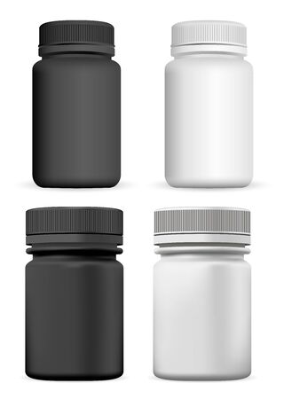 Supplement Bottle. Vector Pill Jar Mock up Design, Isolated on White. Black and White Aspirin Capsule Container Blank Template. Empty Medicine Can For Vitamin. 3d Pharmaceutical Drug Box