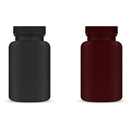 Frasco de pastillas de suplemento. Cápsula de aspirina Tarro de plástico negro y marrón aislado sobre fondo blanco. Plantilla de empaque de farmacia sin etiqueta para vitamina o remedio. Envase farmacéutico saludable