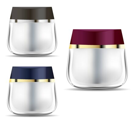 Cosmetic Jar. Cream Container. Brand Beauty Product Bottle. Transparent Glass Blank Design for Skin and Body Care Creme.