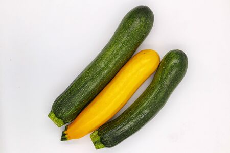 Zucchini Isolated on White Background. Fresh Organic Vegetarian Courgette Plant. Marrow Squash Raw Agriculture Food.