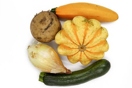 Natural Vegetable Nutrition. Fresh Organic Vegan Food. Potato, Zucchini, Vegetable Marrow, Courgette, Patty Pan Autumn Vegetables. Ugly Organic Agriculture. Green Nutrition Produce