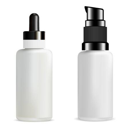 Serum Dropper Bottle. 3d Medicine Vial. Aroma Oil Drop for Skin Care. Natural Treatment Tube Mock Up. Pump Dispenser Medical Package Design. Glass Container for Hair Essence. Empty Jar Template Illustration