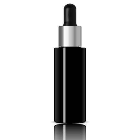 Dropper Bottle. Black Cosmetic Serum Mockup. Eye Dropper Pot. Essential Oil Packaging Isoalated on White. Eyedropper Glass Vial Blank. Natural or Medicine Treatment with Reflection. Luxury Vector