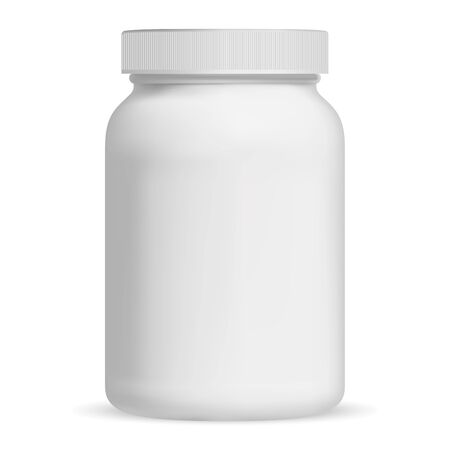 Supplement Bottle. Vitamin Pill Bottle. Aspirin Jar Vector Mockup. Empty Medical Container Blank. 3d Farmaceutical Package Template with Cap for Capsule. Large Protein Nutrition Canister. Powder Drink
