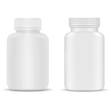Supplement bottle. Plastic capsule jar for vitamin. White medical packaging template. Realistic remedy package with cap. Pharmaceutical container for aspirin medicament. Empty can