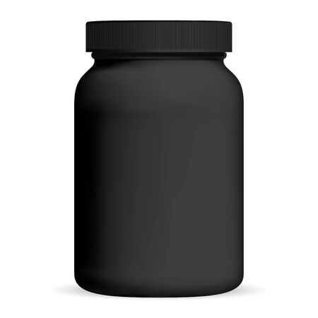 Black Medicine Bottle. Supplement packaging. Plastic cosmetic jar with cap isolated on white. Vitamin tablet container. Nutrition tube for whey protein or casein powder energy nutrition. Cylinder pack
