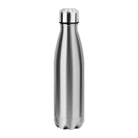Metal water bottle. Reusable stainless steel eco flask mockup. Empty aluminum thermo tin for camping and sport bicycle. Realistic glossy 3d vessel template for branding and promotion. Fitness Tube Imagens - 129844937