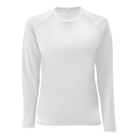 T shirt template. White blank front view. Women long sleeve body. Female apparel. Sport uniform undershirt. Tshirt clothing mock up for printing. Tee shirt for young. Editable print design