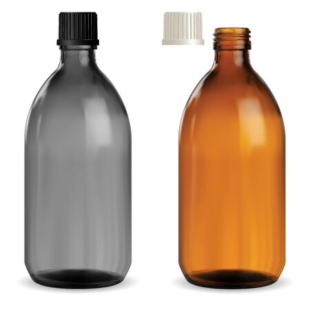 Medicine syrup bottle. Pharmaceutical brown, black glass container vector template. Pharmacy drug cure screw bottle. Realistic glossy glass vitamin medicament vial. 3d transparent mockup, isolated