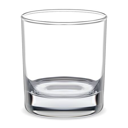Empty glass. Transparent whiskey glass. Clear glassware for water, brandy, bourbon, rum bar alcohol. Realistic clean and shiny tableware. Crystal bowl illustration for cold mineral aqua